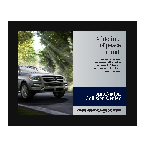 Poster collision center peace of mind mercedes benz for Mercedes benz collision center