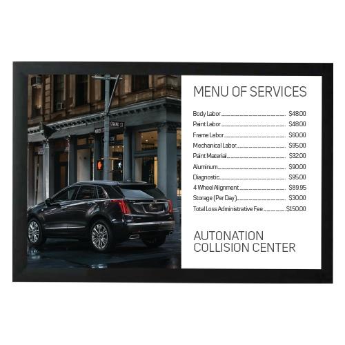 Poster- Collision Center Cadillac MENU